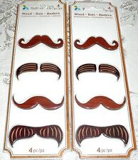 Momenta Wood Embellishments MUSTACHES LOT of 2 Packs