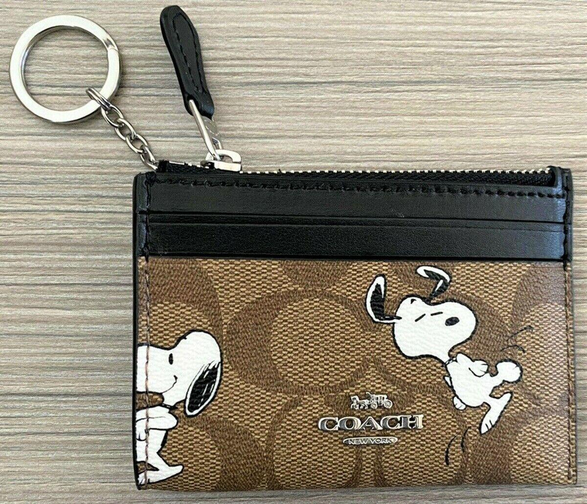 COACH x Peanuts 'Snoopy' Unisex Mini Skinny ID Case Signature Canvas Leather NWT