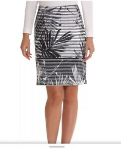 Betty-Barclay-Fern-Leaf-Print-Pull-On-Skirt-In-White-amp-Black-Size-10-New