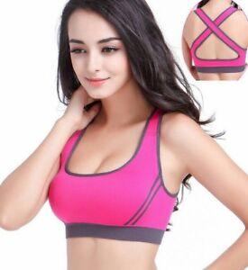 26a14104a789c Womens Ladies Padded Sports Bra Cross Back Seamless Yoga Gym Fitness ...