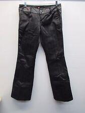 Women's Diesel black pinstripe leather accent flat front flare pants size 28 EUC