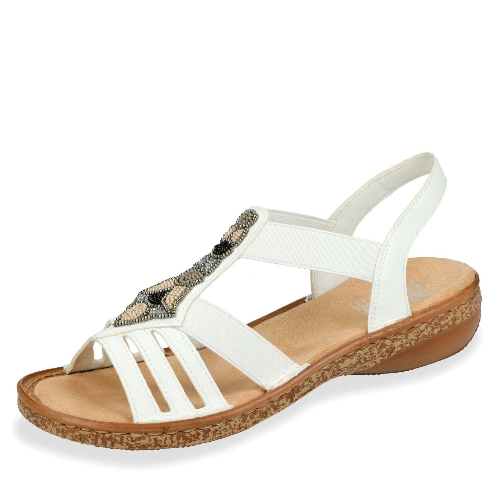 Rieker Damen Sandale Sandalette Riemchensandale Schlupfschuh Sommer Schuhe weiß