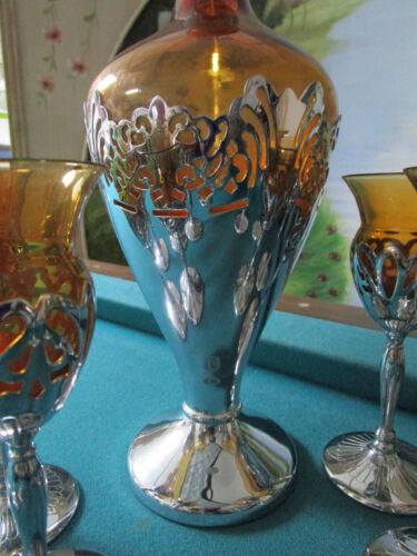 Amber Glass Insert Chrome GLASSES COMPOTE- GLASS-SHOTS DECANTER Farber Bros