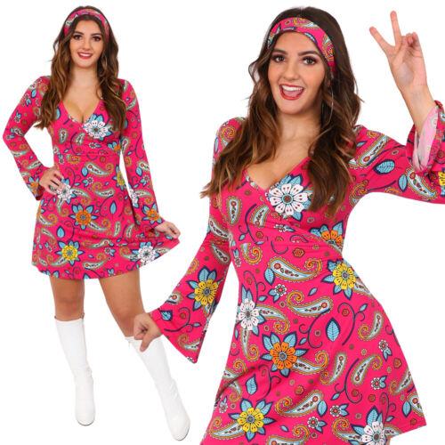 1960 S 70 S Hippie Déguisement Femmes Hippie Costume Flower Power Adultes Rétro Gogo