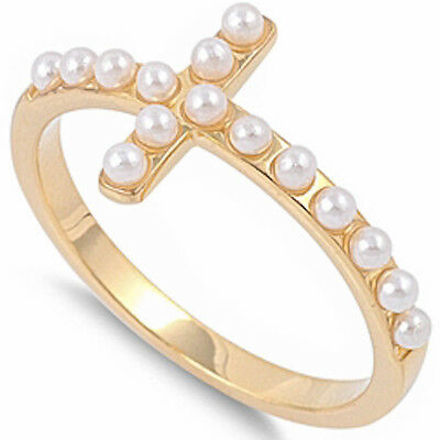 YELLOW PLATED WHITE PEARL SIDEWAYS CROSS .925 Sterling Silver Ring SIZE 5-9