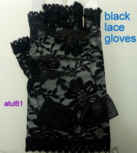 SHORT FINGERLESS LACE GLOVES//PARTY//DISCO//HEN//DANCE//GOTH//COSTUME// FRENCH MAID NEW