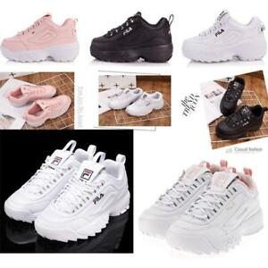 Details zu FILA Schuhe niedrig Leder oder Faux Disruptor schwarz Weiß  lackiert Sneak Neu DE