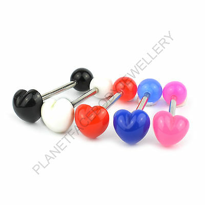 HEART SHAPED ACRYLIC TONGUE BAR BARBELL RING CHOOSE COLOUR 316L SURGICAL STEEL