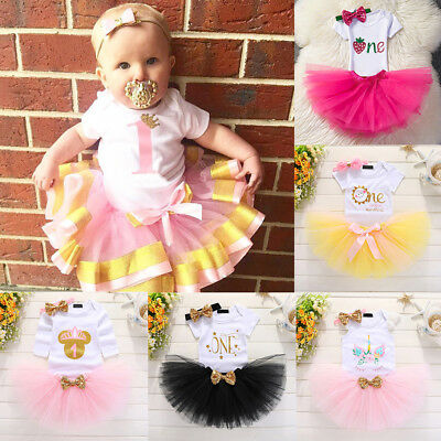Newborn Kids Baby Girls Birthday Unicorn Romper+Bowknot Skirt Dress 3pcs Outfits