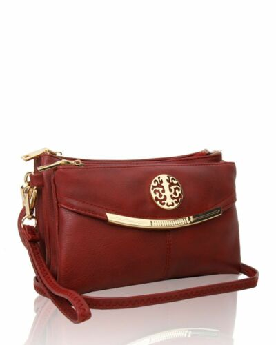 New UK Women/'s Small Multi Zip Compartments Messenger Bag With Gold Badge Detail