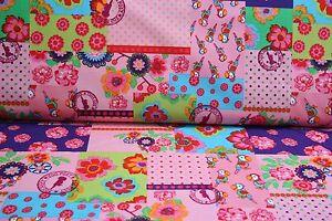NEU-Kinder-Baumwolle-Stoffe-Meterware-Patchwork-Rosa-25-cm-Markenstoffe