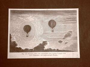 Incisione-del-1875-Pallone-aerostatico-aerostato-Lea-Tissandier-e-Roussin