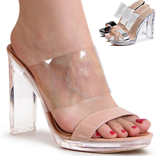 Damen Transparent Mules Sandaletten Pumps Pantoletten Sandalen Slipper
