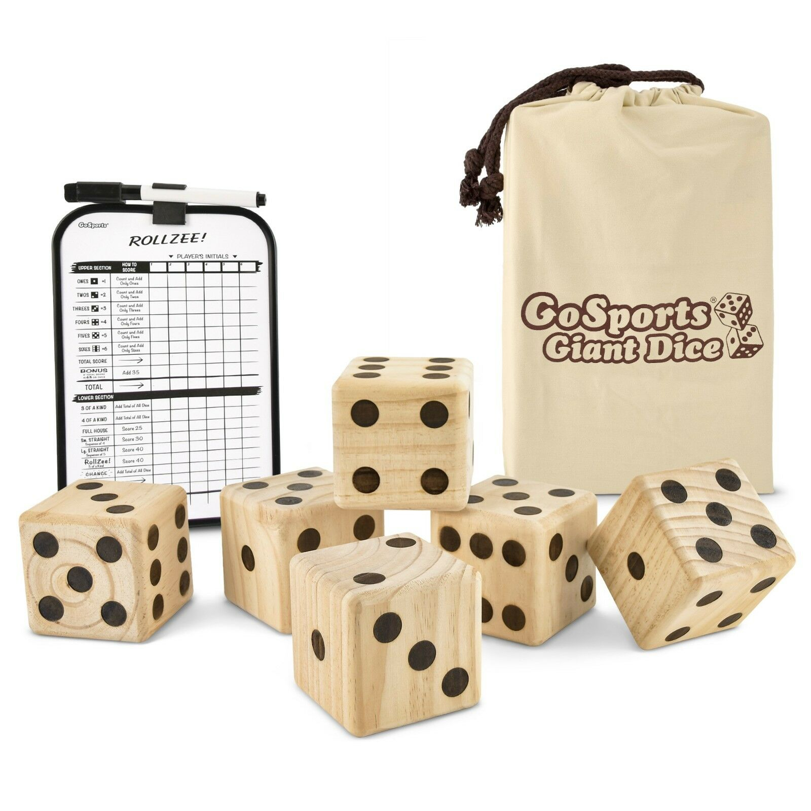 GoSports Giant 3.5  Wooden Playing Dice Set  Bonus Scoreboard & Carry Case