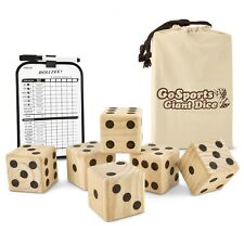GoSports Giant 3.5 Wooden Playing Dice Set With Bonus Rollzee Scoreboard 6 and