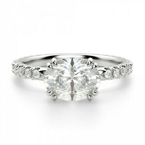 2.25 Ct Oval Cut Moissanite Engagement Ring 14K Bridal Solid White Gold Size 7