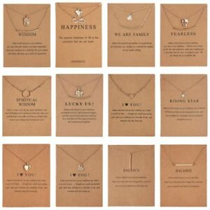 Gold-Plated-Necklace-Clavicle-Gold-Silver-Chain-Pendant-Gift-Jewellery-With-Card