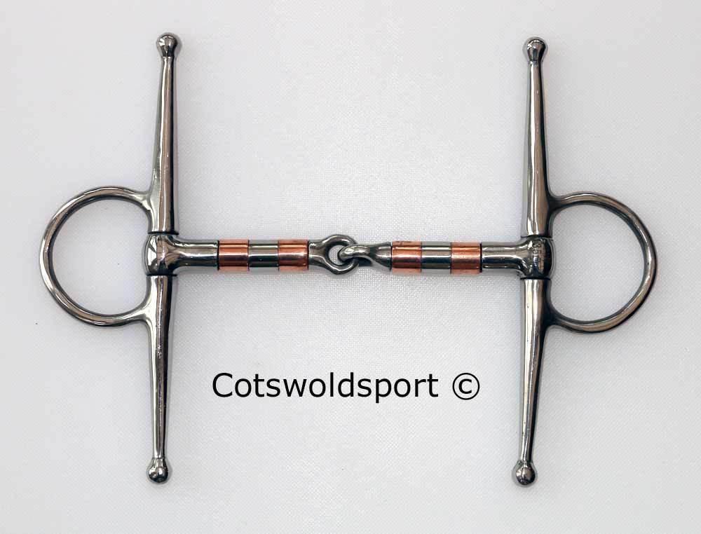 CS Full Cheek Fulmer Copper Roller Snaffle 125mm ( 5  ) Stainless Steel