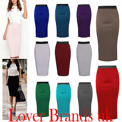 Womens Plain Office Work Pencil Ladies Stretch Bodycon Mini Midi Skirt Size 8-26