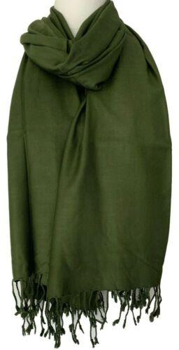Green Scarf Fair Trade Plain Olive Oversized Wrap Tassel Trim Shawl Ladies Mens