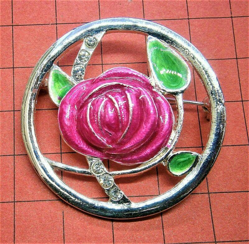 F280*) Retro Silver Tone Pink Enamel Rose Mackintosh Style Circular Brooch Pin