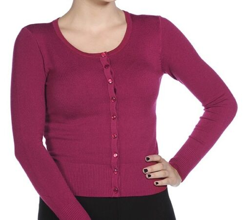 BANNED Cardigan plaine new soft bouton 50s rockabilly knit top BOURGOGNE 10 12 14