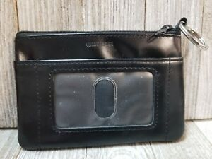 Womens-Black-Genuine-Leather-ID-Keychain-Wallet-B33