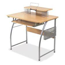 Lorell Laminate Computer Desk With Upper Shelf Maple