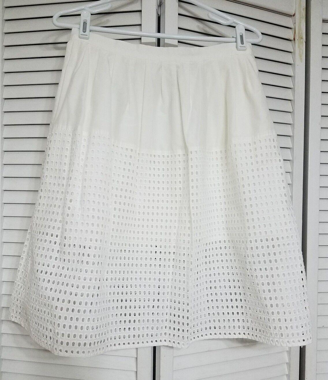 Chelsea 28 Ivory Eyelet Skirt, Size Small
