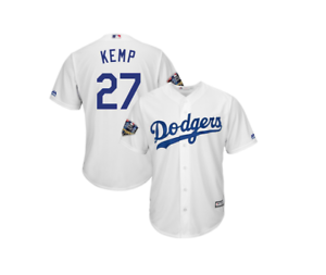 Los Angeles Dodgers Men s Matt Kemp 2018 World Series Jersey - White ... 49ba980f786