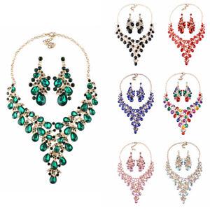 Rhinestone-Necklace-Crystal-Earring-Women-Bridal-Party-Prom-Wedding-Jewelry-Set