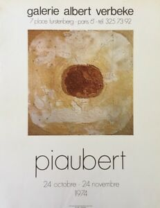 Diligent Jean Piaubert (1900-2002) Affiche Abstrait Galerie Albert Verbeke 1974 Paris