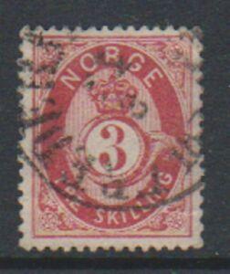 Norvegia - 1871/5, 3sk Carmine-Lake O Rosso Carminio Francobollo - G/U - Sg 38 O
