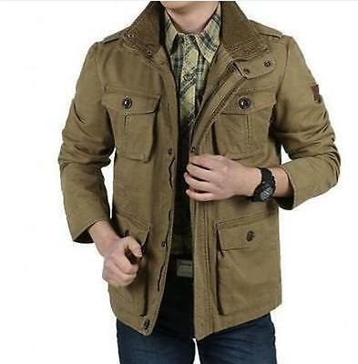OUTDOOR NEW MEN's CARGO JACKETS CASUAL COTTON WIND COATS TRAVEL ARMY GREEN se35