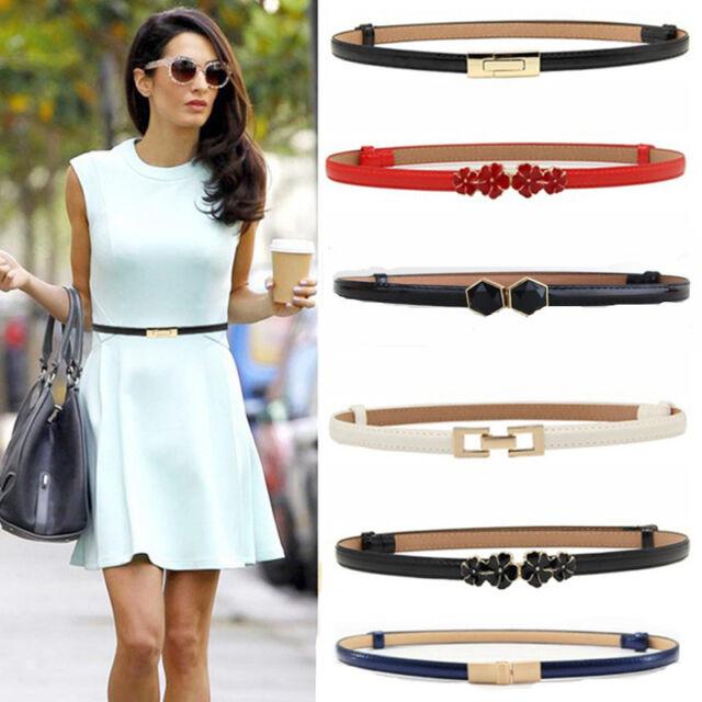 Women Laies Fashion Narrow Skinny Thin Patent Leather Buckle Waist Belt BR