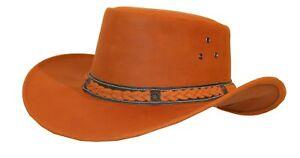 Hüte & Mützen L/xl Reiter Hut Australia Style Herren-accessoires Gutherzig Lederhut Westernhut Cowboyhut Ocker Braun Gr