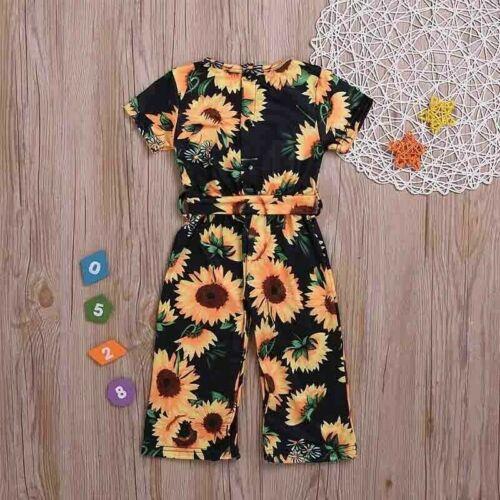 Newborn Baby Girls Kids Summer Sunflower Romper Jumpsuit Pants Clothes Outfits