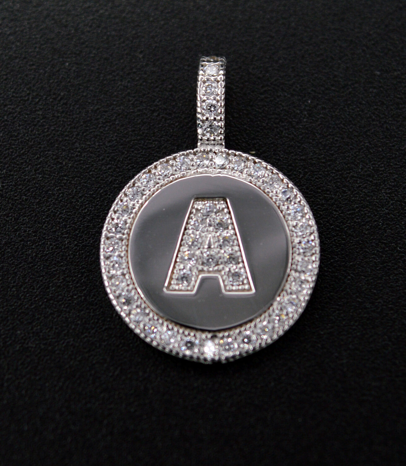 PM41 Created Diamond Round Cut Initial Letter A Pendent .25ct 14K White gold