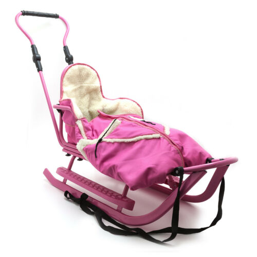 Piccolino SetPink Rosa Kinderschlitten Babyschlitten Fußsack Schiebe Schlitten