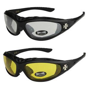 2er Pack Choppers 911 Locs Motorradbrille gelbe Gläser Männer Frauen schwarz