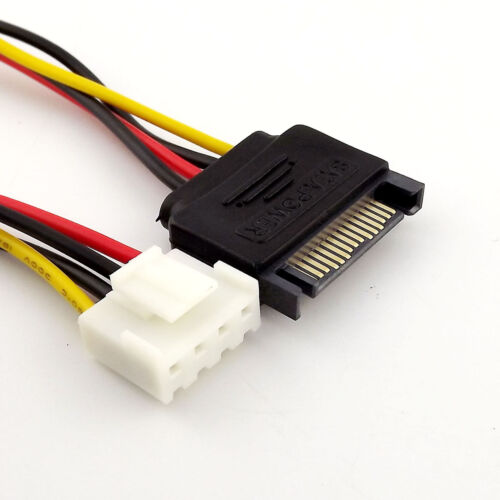 1x 15-Pin SATA Male to 4-Pin Floppy FDD Female Power Converter Adapter Cable