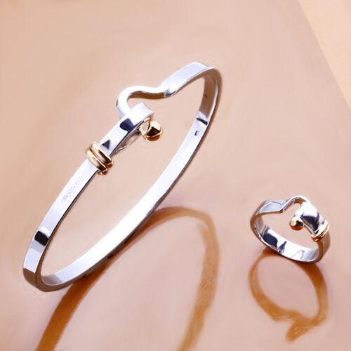 Argent Sterling 925 Argent Massif Simple Noble Femmes Bracelet Ring Set GS279