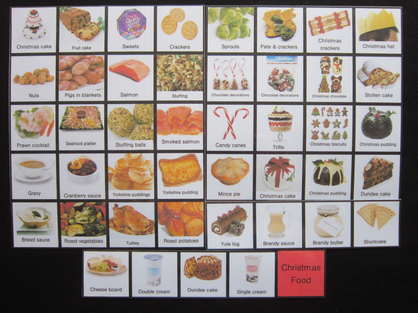 Christmas Food Photo Cards - PECS Autism Choice Board Dementia Speech Loss