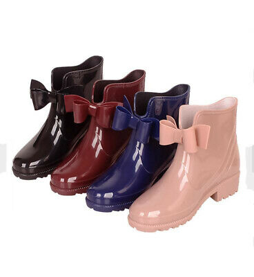 Fashion Rain Boots Waterproof Womens Ankle Boots Rubber Bowknot Garden Shoes