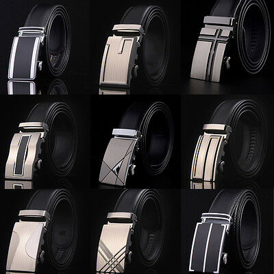 Men's Fashion Genuine Leather Automatic Buckle Belts Waist Strap Belt Waistband
