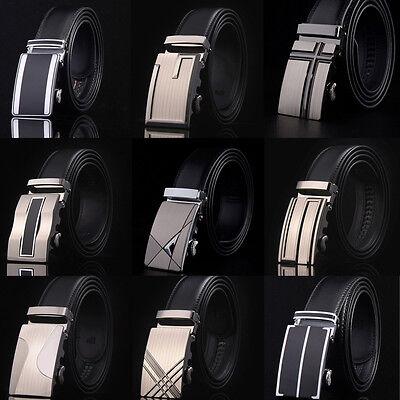 Men's Fashion Genuine Leather Automatic Buckle Belts Waist Strap Belt Waistband