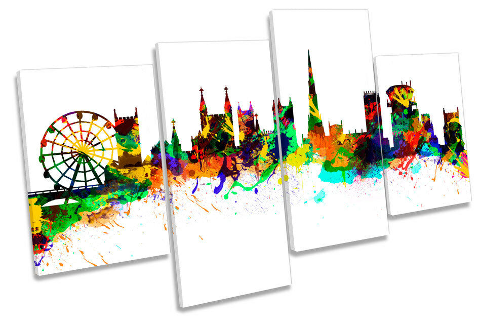 Bristol CITY SKYLINE SKYLINE SKYLINE Moderno Multi Canvas Wall Art Boxed incorniciato 2e5784