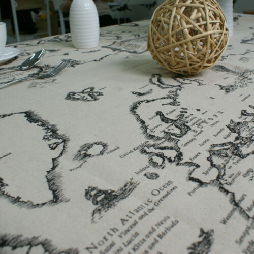 Map Pattern Tablecloth Rectangle Tea Table Cloth Cover Dining Party Home Decor