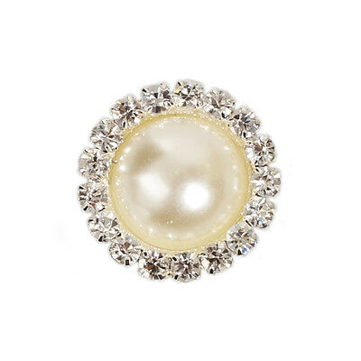 10pcs Rhinestone Pearl Shank Round Buttons For Cloth Sewing Crafts Multicolors