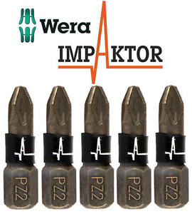 5-x-WERA-IMPAKTOR-Pozi-PZ2-25mm-Length-Diamond-Coated-Impact-Driver-Bits-347524